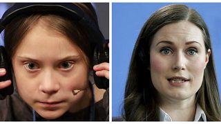 Greta Thunberg (Solda), Sanna Marin (Sağda)
