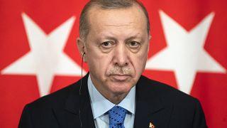 Turkish President Recep Tayyip Erdogan in Moscow, March 5, 2020. (AP Photo/Pavel Golovkin, Pool)