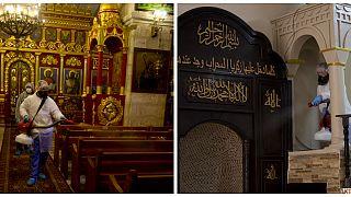 عاملان من بلدية رام الله يطهران مسجداً وكنيسة في المدينة
