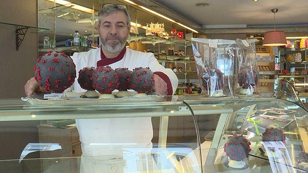 شاهد: صنع شوكولاتة على شكل فيروس كورونا في فرنسا