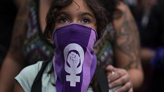 Manifestation pour le droit des femmes à Montevideo en Uruguay