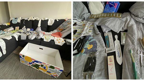 Finlandiya'da Türk aileye 64 parçalık doğum hediyesi paketi