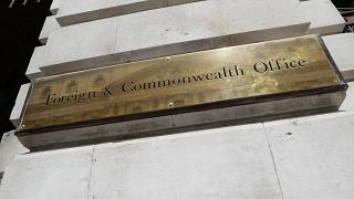 The name plate outside the British Foreign and Commonwealth office in London