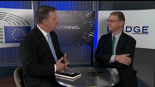 Grünen-Abgeordneter Philippe Lamberts (rechts) im Gespräch mit Stefan Grobe