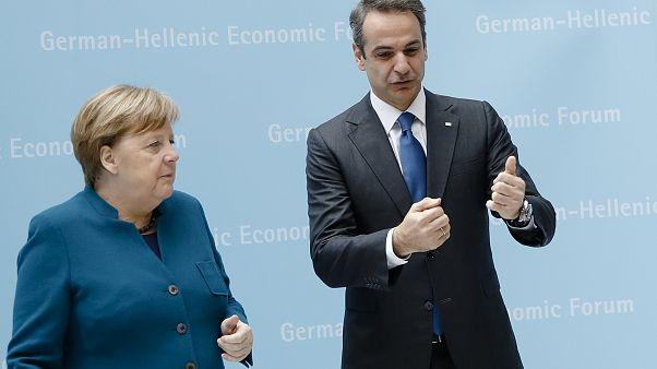 Angela Merkel und Kyriakos Mitsotakis in Berlin