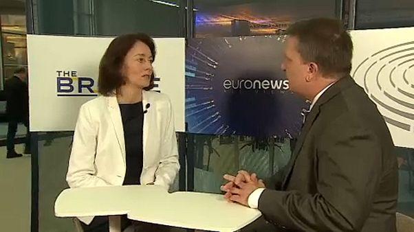 EU-Parlaments-Vizepräsidentin Katarina Barley (SPD) im Gespräch mit Stefan Grobe