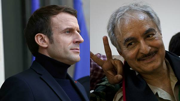 Fransa lideri Emmanuel Macron, Libyalı General Halife Hafter
