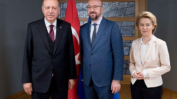 Ursula von der Leyen, President of the European Commission meets Recep Tayyip Erdoğan