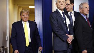 Donald Trump s'apprête à faire le point sur le coronavirus à la Maison Blanche, Washington, le lundi 9 mars 2020