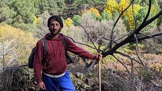 Álvaro García Río-Miranda, goatherd in the Sierra de Gata, in November 2019.