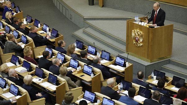 الرئيس الروسي فلاديمير بوتين خلال جلسة قبل التصويت على التعديلات الدستورية في مجلس الدوما 10/03/2020