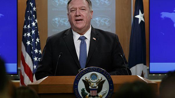وزير الخارجية مايك بومبيو يتحدث خلال مؤتمر صحفي في وزارة الخارجية بواشنطن 05/03/2020