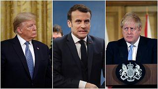 رئيس الوزراء البريطاني بوريس جونسون / الرئيس الفرنسي إيمانويل ماكرون / الأمريكي دونالد ترامب