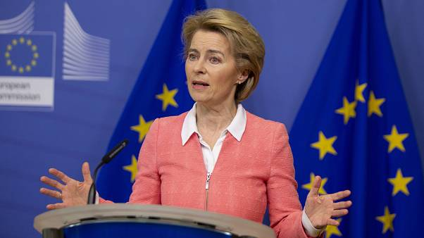 European Commission President Ursula von der Leyen speaks during a media conference after the weekly College of Commissioners meeting at EU headquarters in Brussels.
