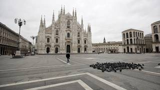 Пьяцца-дель-Дуомо в Милане 12 марта 2020