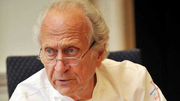 French chef Michel Roux speaks to other judges during the finals of the 'Roux Scholarship' competition at the Mandarin Oriental hotel in central London, on April 6, 2009.