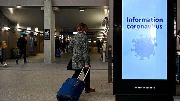 Message d'information sur le coronavirus dans la gare de Rennes, le 13 mars 2020.