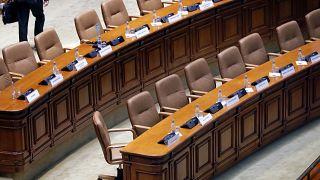 A román parlament üres padsorai