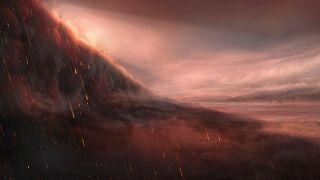 WASP-76b üzerindeki demir yağmurlarının sanatçı tarafından resmedilişi