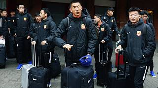 Players from Chinese Super League team Wuhan Zall