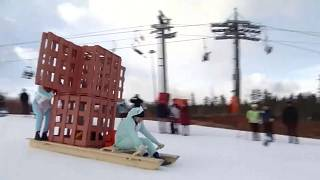 Russians amuse in creative home-made sledge riding