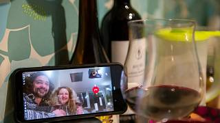 Socialising at the time of coronavirus - a video call with our friends Francesca and Giancarlo over dinner to feel less lonely