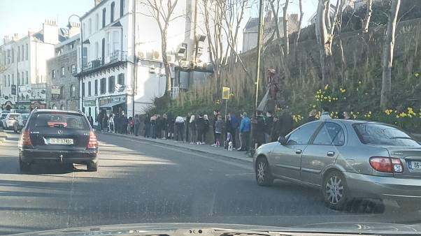 People queueing up in Howth, Ireland on Sunday March 22nd.