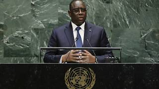 Senegal's President Macky Sall addresses the 74th session of the United Nations General Assembly, Tuesday, Sept. 24, 2019, at the United Nations headquarters.