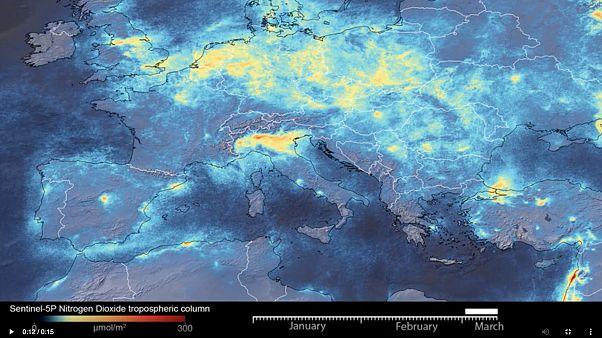 İtalya'da Copernicus Sentinel-5P uydusundan çekilen ve hava kirliliğinin azaldığını gösteren görüntüler