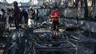 حريق في جزيرة ليسبوس في اليونان