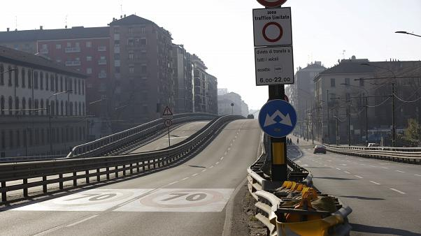 An almost deserted overpass as private traffic was stopped Sunday following high pollution levels in Milan, Italy, Sunday, Feb. 2, 2020.
