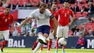 Harry Kane takes a penalty during a EURO 2020 qualifier between England and Bulgaria