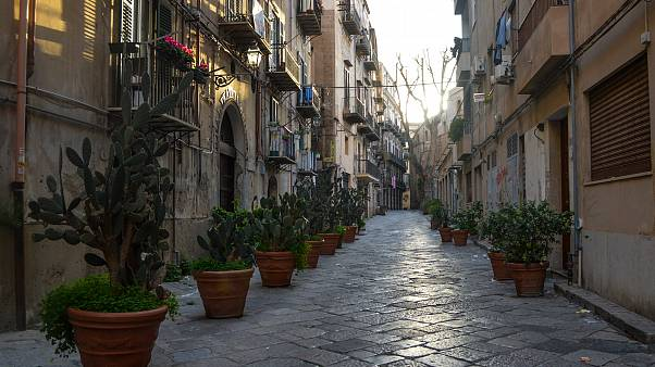 An empty residential street of Palermo after the strict lockdown measures were introduced in Italy in a bid to contain the coronavirus COVID-19
