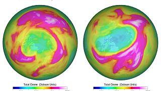 A la izquierda, agujero en la capa de ozono en 2011, a la derecha, 2020