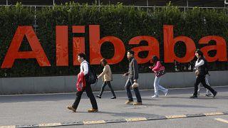 شعار شركة علي بابا في هانغتشو بمقاطعة تشجيانغ بشرق الصين.