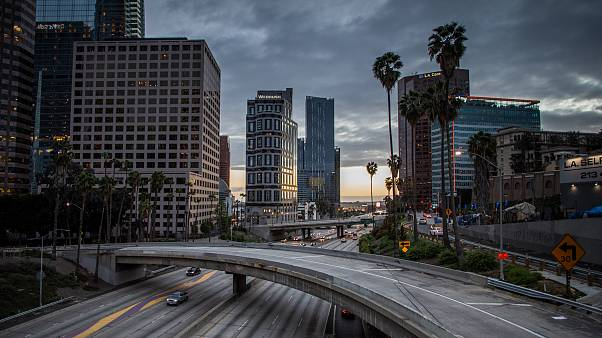 The 110 Freeeway is nearly empy in downtown Los Angeles, California. - Bars, restaurants and nightclubs in Los Angeles were ordered to close from midnight on Sunday, 15 March.