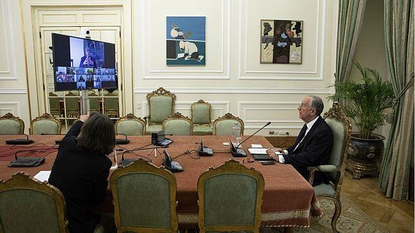 Presidente Marcelo Rebelo de Sousa durante o Conselho de Estado por videoconferência