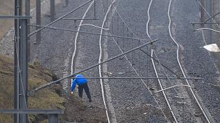 A French Gendarme on the scene of a train crash earlier this month in Alsace, France.