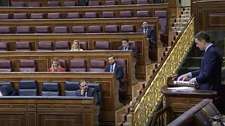 Spain's PM speaks to almost empty parliament chamber amid COVID-19 lockdown