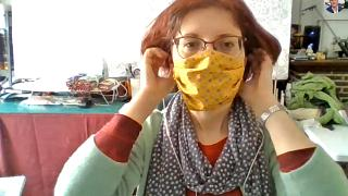Roxana Curic is sewing facemasks for care workers