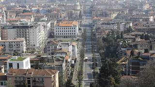 A view of Bergamo, Italy, Tuesday, March 17, 2020.