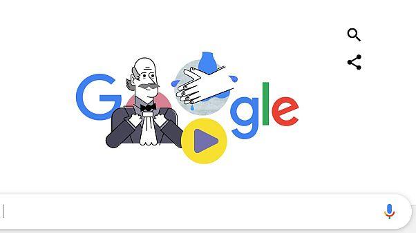 Semmelwies Ignáccal hirdeti a kézmosás fontosságát a Google
