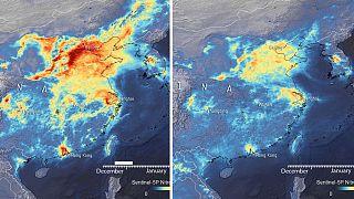 Bilder der Luftqualität über China: Links im Dezember 2019, rechts März 2020.