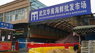 Covid-19'un dünyada ilk ortaya çıktığı yer olarak bilinen Çin'in Vuhan şehrindeki balık pazarı.