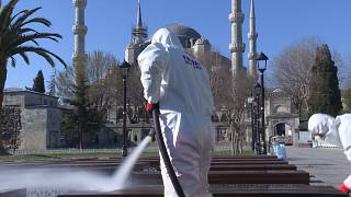 Disinfection of Istanbul's historic Sultanahmet district
