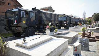 Convoy arriving to the cemetary of Ferrara, Italy.