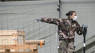A French soldier of La Valbonne medical regiment