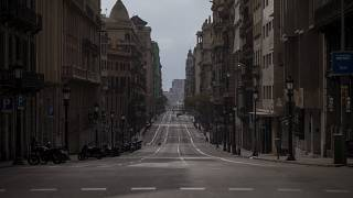 Major streets in cities like Barcelona were empty during Spain's first national lockdown last year.