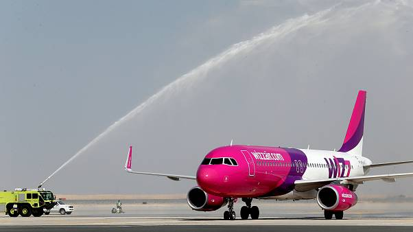 Wizz Air lands at the newly opened Al Maktoum International Airport in Dubai,