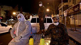 سپاه پاسداران ضدعفونی محیطی را با عنوان «رزمایش دفاع بیولوژیک» انجام میدهد